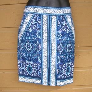 nwot! LOFT Skirt, 4 Blue Floral/Accented, Back zip